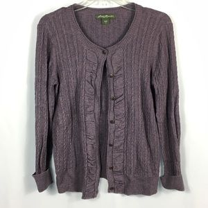 Eddie Bauer Heathered Purple Button Up Cardigan